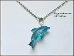 Aqua Aura, uniikki riipus 925 hopeisella pidikkeellä, delfiini