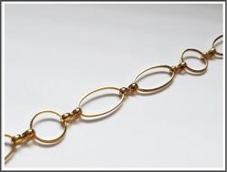 Metalliketju, lenkit Ø 12 mm ja 19.5 x 10.5 mm, kulta, metri