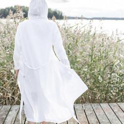 Usva pellava-aamutakki, valkoinen