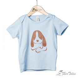 Pikkulasten t-paita koirapainatuksella, luomupuuvillaa