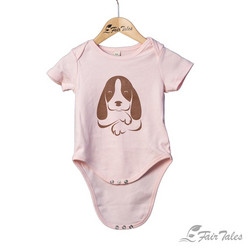Vauvojen vaaleanpunainen body koirapainatuksella