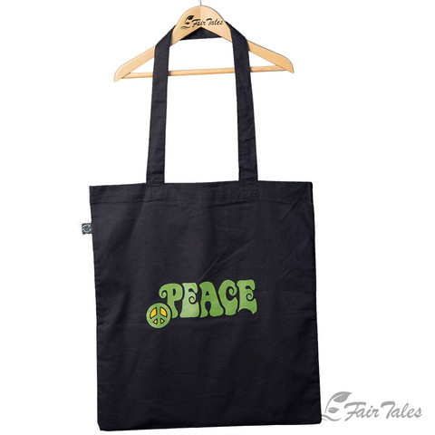 Ostoskassi Peace-painatuksella, luomupuuvillaa