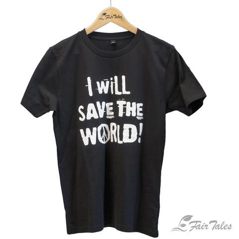 Unisex-t-paita I will save the world -painatuksella, luomupuuvillaa