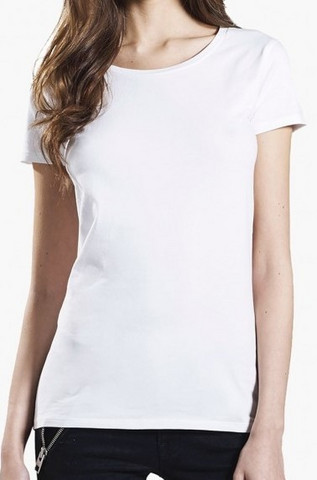 Naisten valkoinen stretch-t-paita luomupuuvillaa, joustava materiaali, istuu napakasti