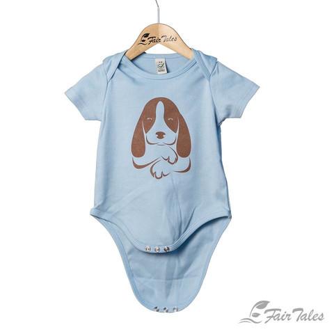 Vauvojen vaaleansininen body koirapainatuksella