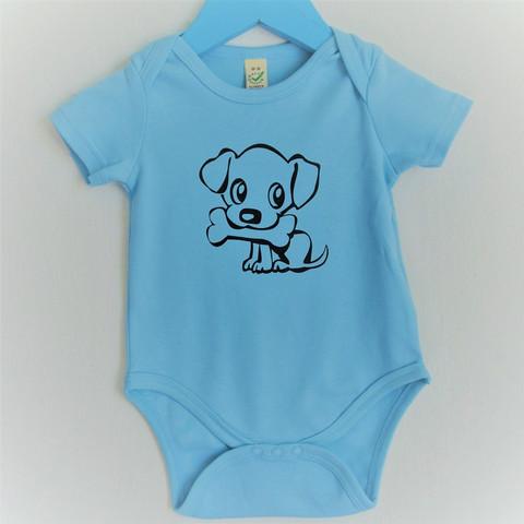 Vauvojen vaaleansininen body koira ja luu -painatuksella.
