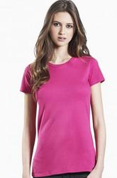 Naisten luomupuuvillainen t-paita, slim eli kapea malli, S/M/L, pinkki