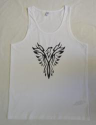 Miesten hihaton musta ja valkoinen t-paita, kotkapainatuksella, 100 %:sta luomupuuvillaa.