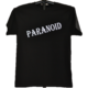 T-paita kromin värisellä Paranoid-painatuksella sekä miehille että naisille, luomupuuvillaa