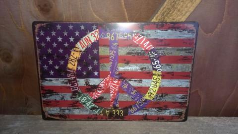 Peltitaulu USA Lippu Rauha