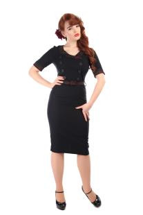 Yvonne Hanna Check Trim Pencil Dress
