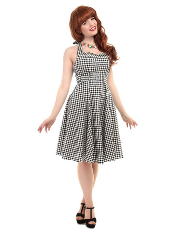 Lori Gingham Swing Dress Black