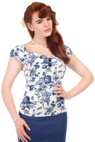 Dolores Toile Floral Print top Blue