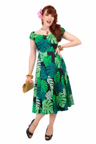 Dolores Tahiti Palm Print Doll Dress