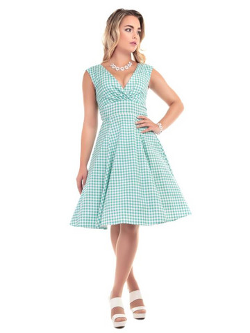 Pamela Gingham Doll Dress Mint