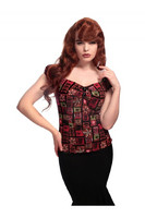 Dolores Top Abstract Floral Ruskea