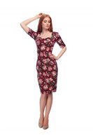 Dolores Doll Half Sleeve Bloom Pencil Dress