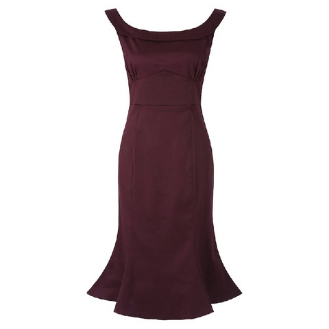 Isla Fishtail Wiggle Dress Viininpunainen