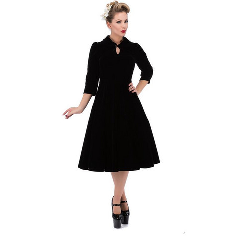 Glamours Velvet Tea Dress Black Plus