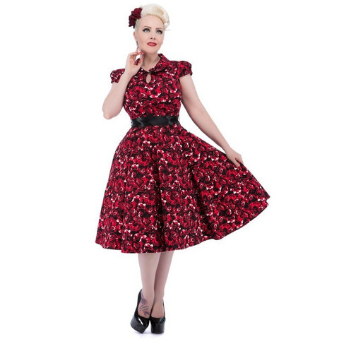 Black Red Rose Tea Dress