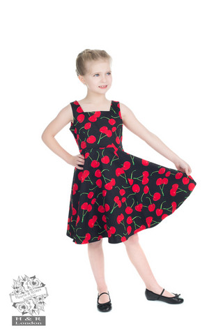 Black bobshell cherry swing dress