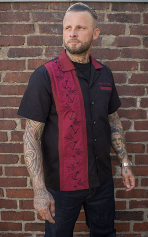 Lounge shirt - Swallows ´n´anchors - bordeaux