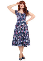 Dolores Maui Hibiscus Doll Dress Navy