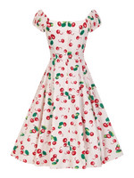 Dolores Doll 50s Cherry Print Dress Ivory/Red