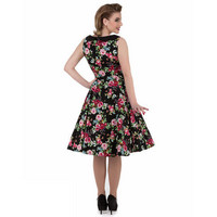 Midnight Rose Garden 1950s Dress