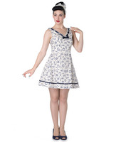 Hell Bunny Alizea Nautical Mini Dress Sininen