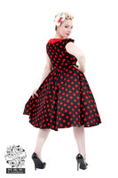 Black Red Large Polka Dot Swing Dress