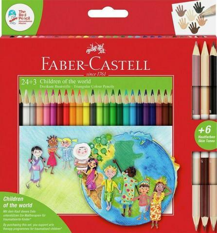 Värikynät Faber-Castell 24 + 3, pahvirasiassa