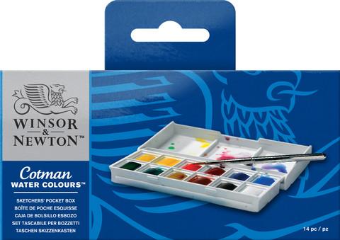 W&N cotman pocket box 12 x 1/2 nappia, akvarellivärilajitelma
