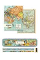 Muistikirjat Vintage maps + lyijykynät peltilaatikossa