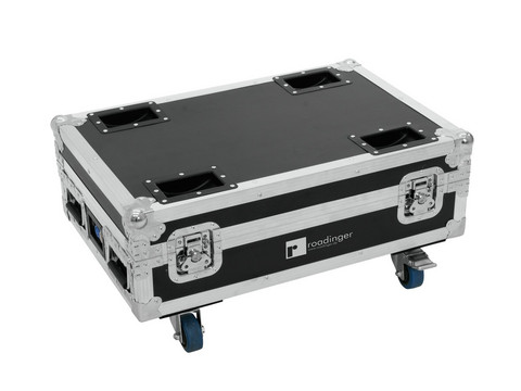 ROADINGER Flightcase 4x AKKU BAR-6 Glow QCL Flex QuickDMX with charging function
