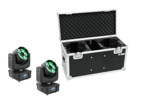 EUROLITE Set 2x LED TMH-16 Moving-Head Zoom Wash + Case