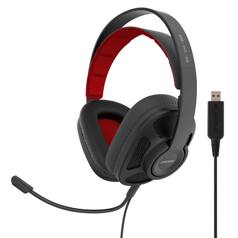 KOSS Headset GMR545 AIR USB Over-Ear Mic Remote, Musta