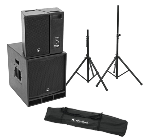 OMNITRONIC MAXX-1810DSP 2.1 Active System + Move MK2 Speaker Stand Set