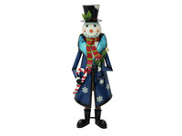 EUROPALMS Snowman with Coat, Metal, 150cm, blue