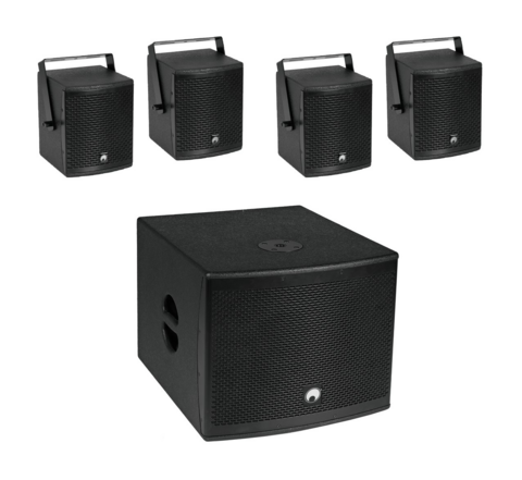 OMNITRONIC Set MOLLY-12A Subwoofer active + 4x MOLLY-6 Top 8 Ohm, black