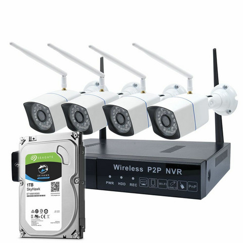 PNI House WiFi550 NVR Video Surveillance Kit and 4 Wireless Cameras