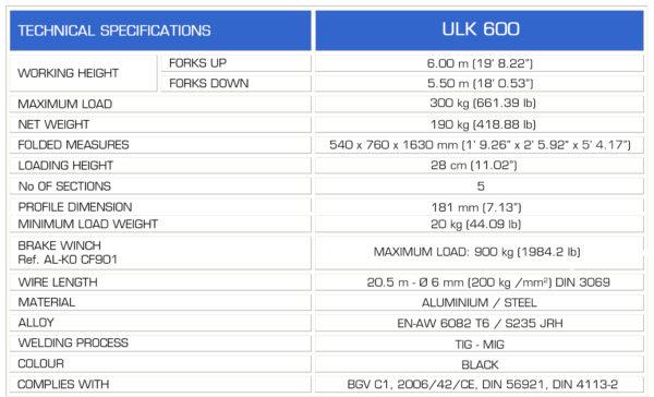 GUIL ULK 600 Spec