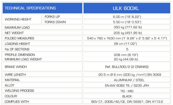 GUIL ULK-600XL Spec