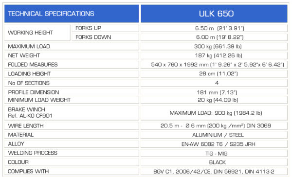 GUIL ULK-650 Specs