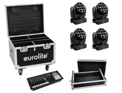 EUROLITE Set 4x LED TMH-12 + Controller + Cases