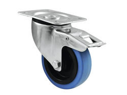 ROADINGER 100mm Brake Swivel Castor BLUE WHEEL