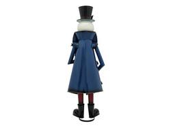EUROPALMS Snowman with Coat, Metal, 150cm, blue