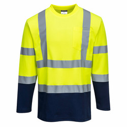 PORTWEST Pitkähihainen, Kaksiväri Cotton Comfort T-paita