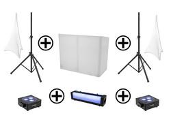 EUROLITE Set AKKU 2x Flat light 3 bk + Bar-6 + Stands