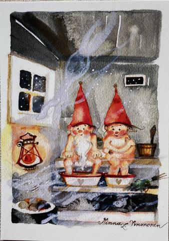 Minna Immosen joulukortti Lämpöinen löyly